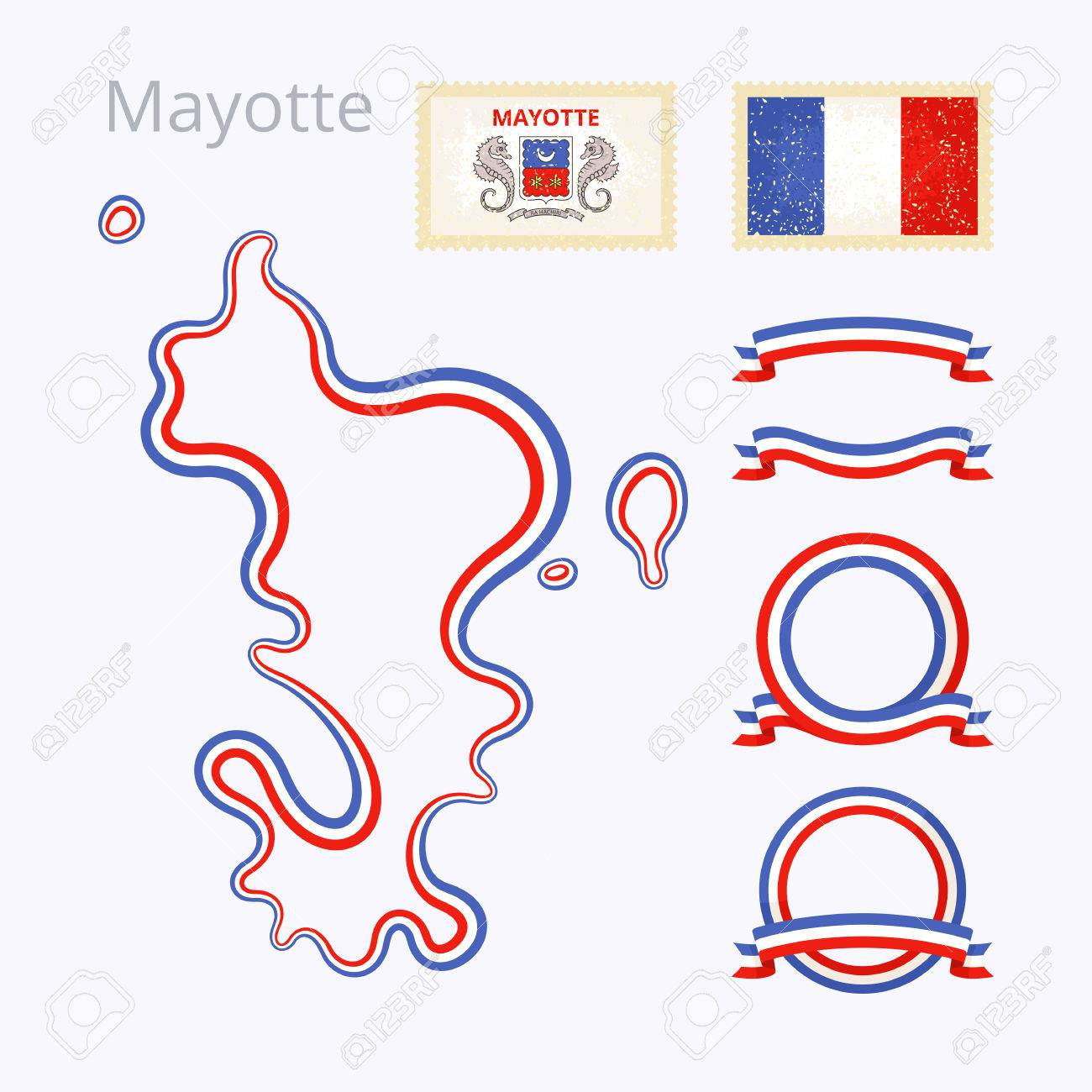 Outline Map Of Mayotte Border Is Marked With Ribbon In National - Package of map colors