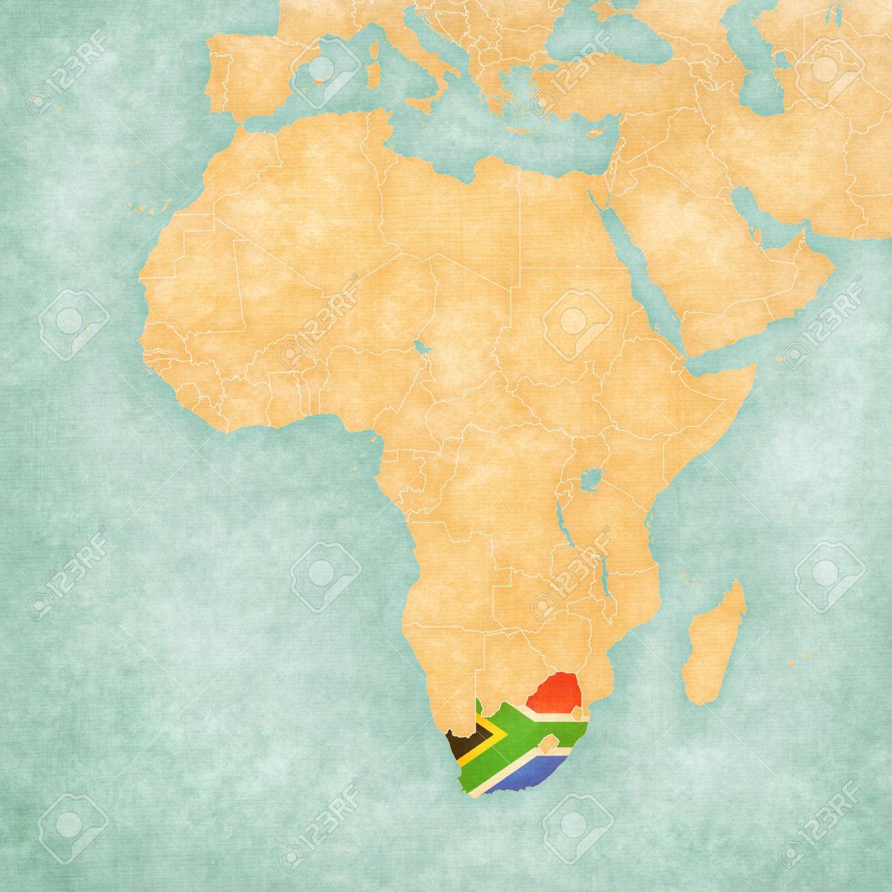 South Africa (South African flag) on the map of Africa. The map..