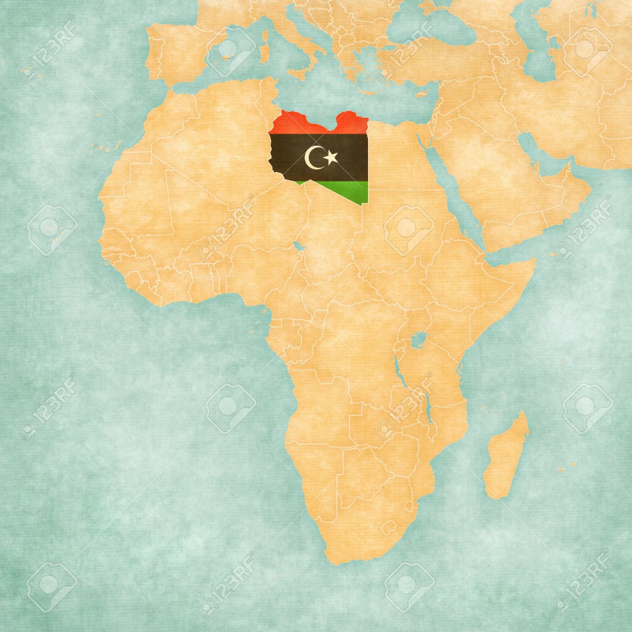 Libya On Map Of Africa Libya (Libyan Flag) On The Map Of Africa. The Map Is In Soft