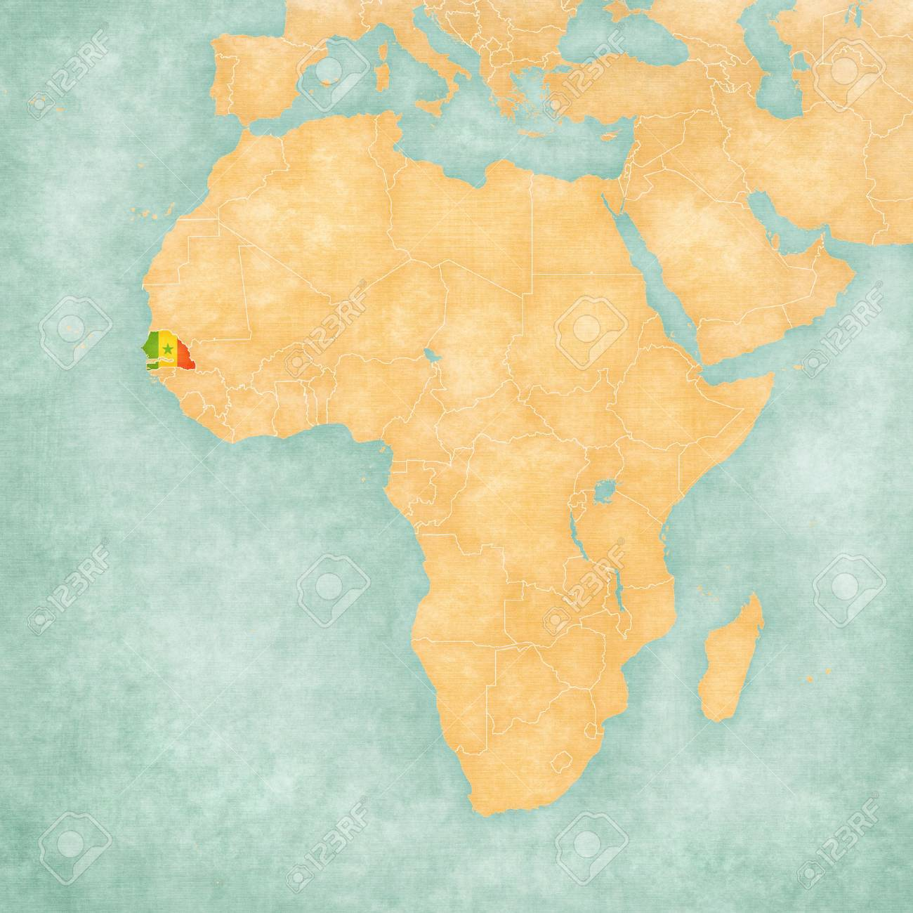 Senegal On Africa Map.Senegal Senegalese Flag On The Map Of Africa The Map Is In