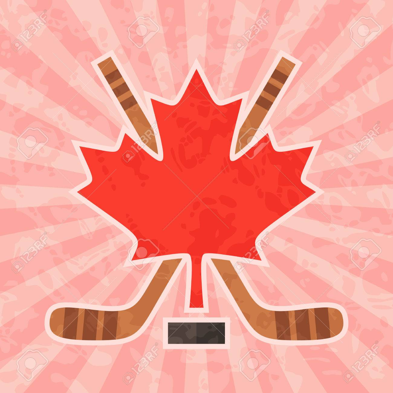 Ice Hockey In Canada Canadian Red Maple Leaf And Crossed Hockey