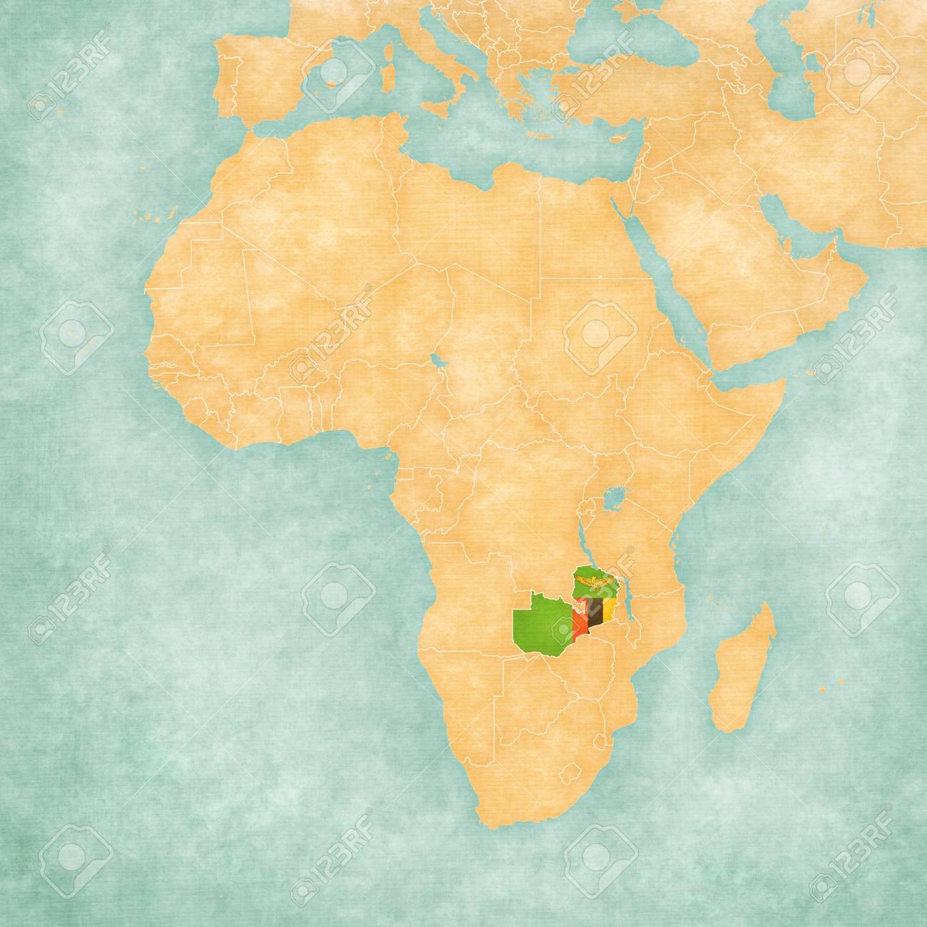 Map Zambia.Zambia Zambian Flag On The Map Of Africa The Map Is In Soft