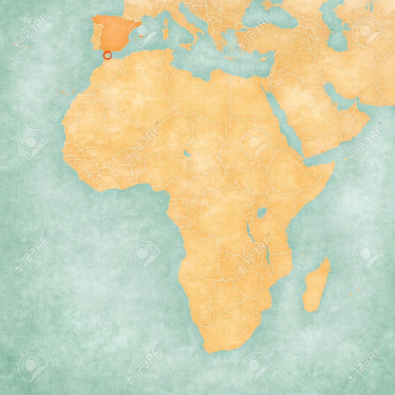 Spain And Africa Map.Ceuta Spain On The Map Of Africa The Map Is In Soft Grunge