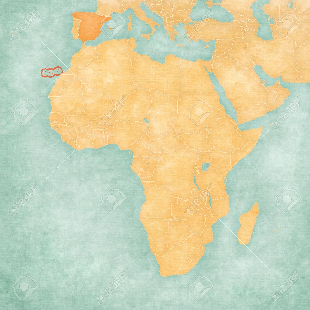 Cartina Spagna E Isole Canarie.Immagini Stock Isole Canarie Spagna Sulla Mappa D Africa La Mappa E In Grunge Morbido E Stile Vintage Come La Pittura Ad Acquerello Su Carta Vecchia Image 66371074