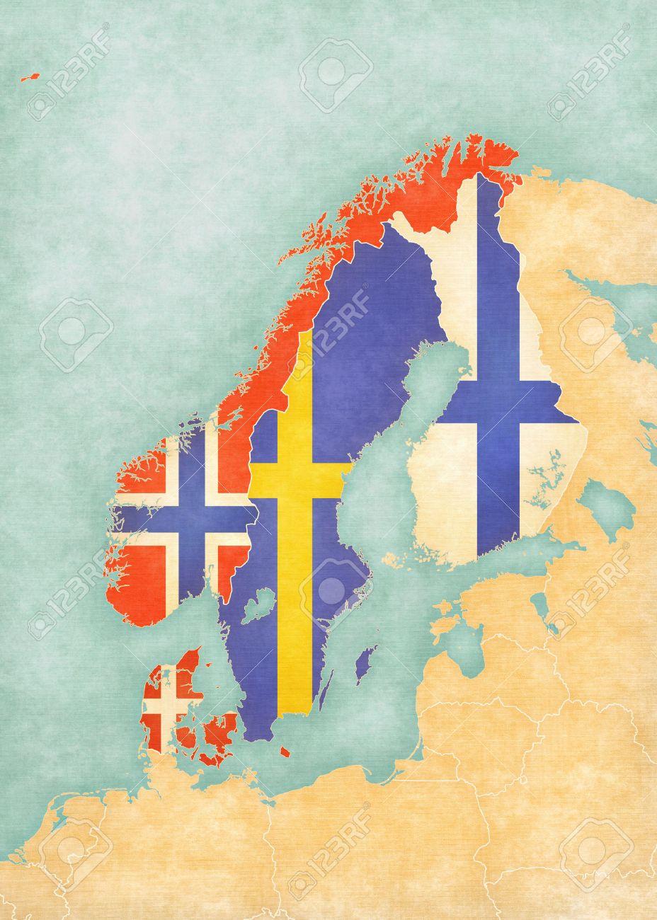 Karte Skandinavien.Stock Photo