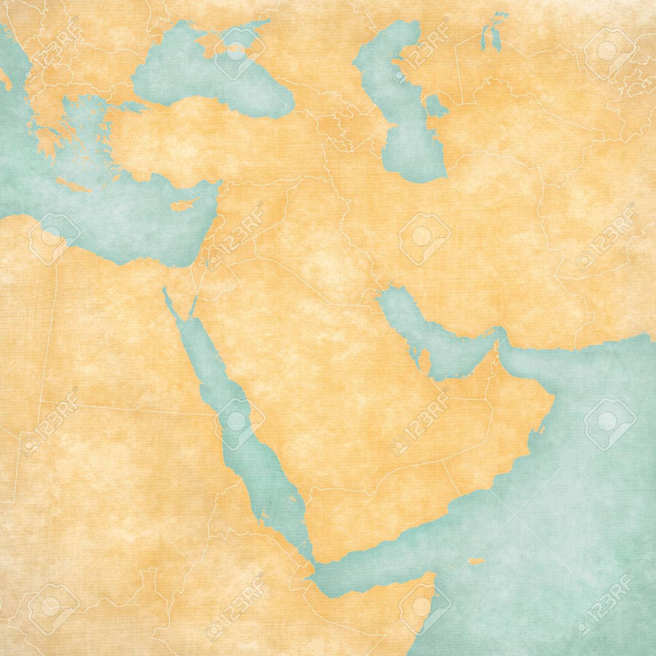 Blank Map Of Middle East Western Asia With Country Borders In Soft Grunge And