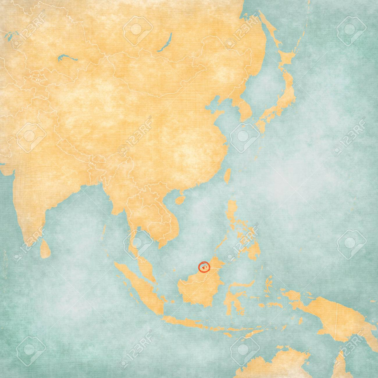 Image of: Brunei Bruneian Flag On The Map Of East And Southeast Asia Stock Photo Picture And Royalty Free Image Image 74606731