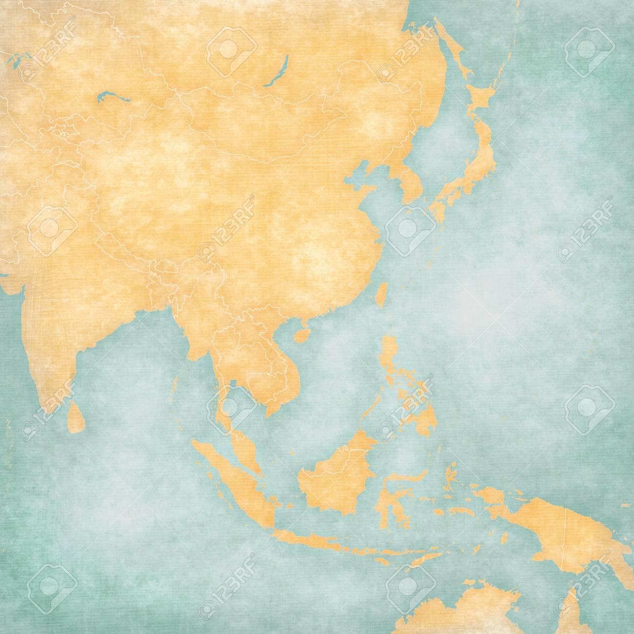 Carte De Lasie De Lest Vierge.Carte Vierge De L Asie De L Est Et Du Sud Est Avec Des Frontieres De Pays En Grunge Doux Et Style Vintage Comme Un Vieux Papier Avec Une Peinture A