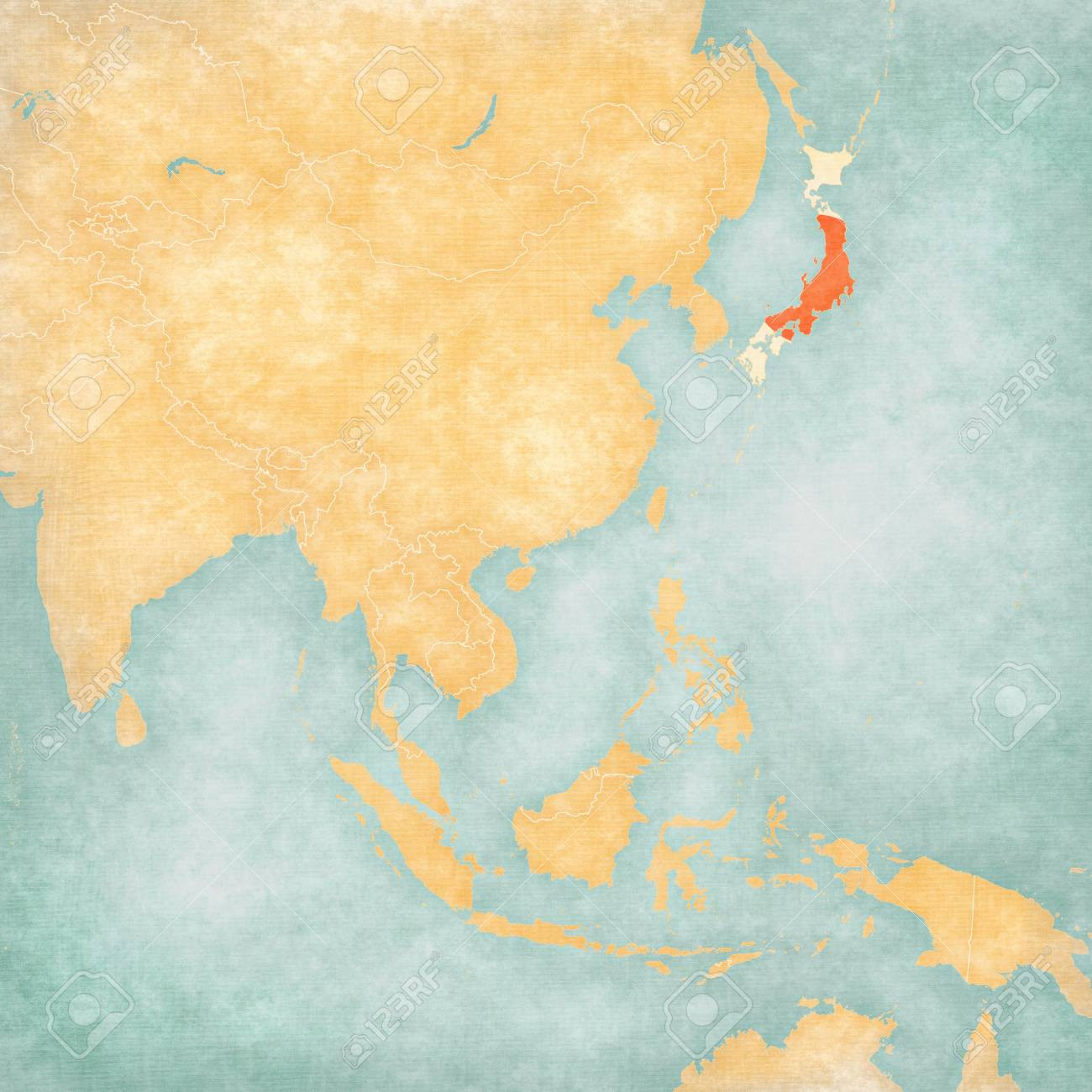 A Map Of East Asia.Japan Japanese Flag On The Map Of East And Southeast Asia In