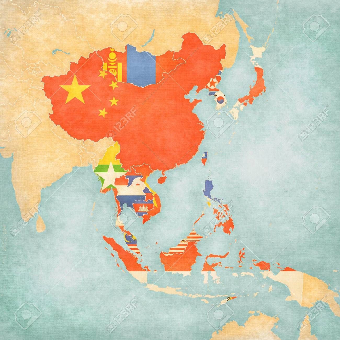 Flags Of All Countries On The Map Of East And Southeast Asia.. Stock ...