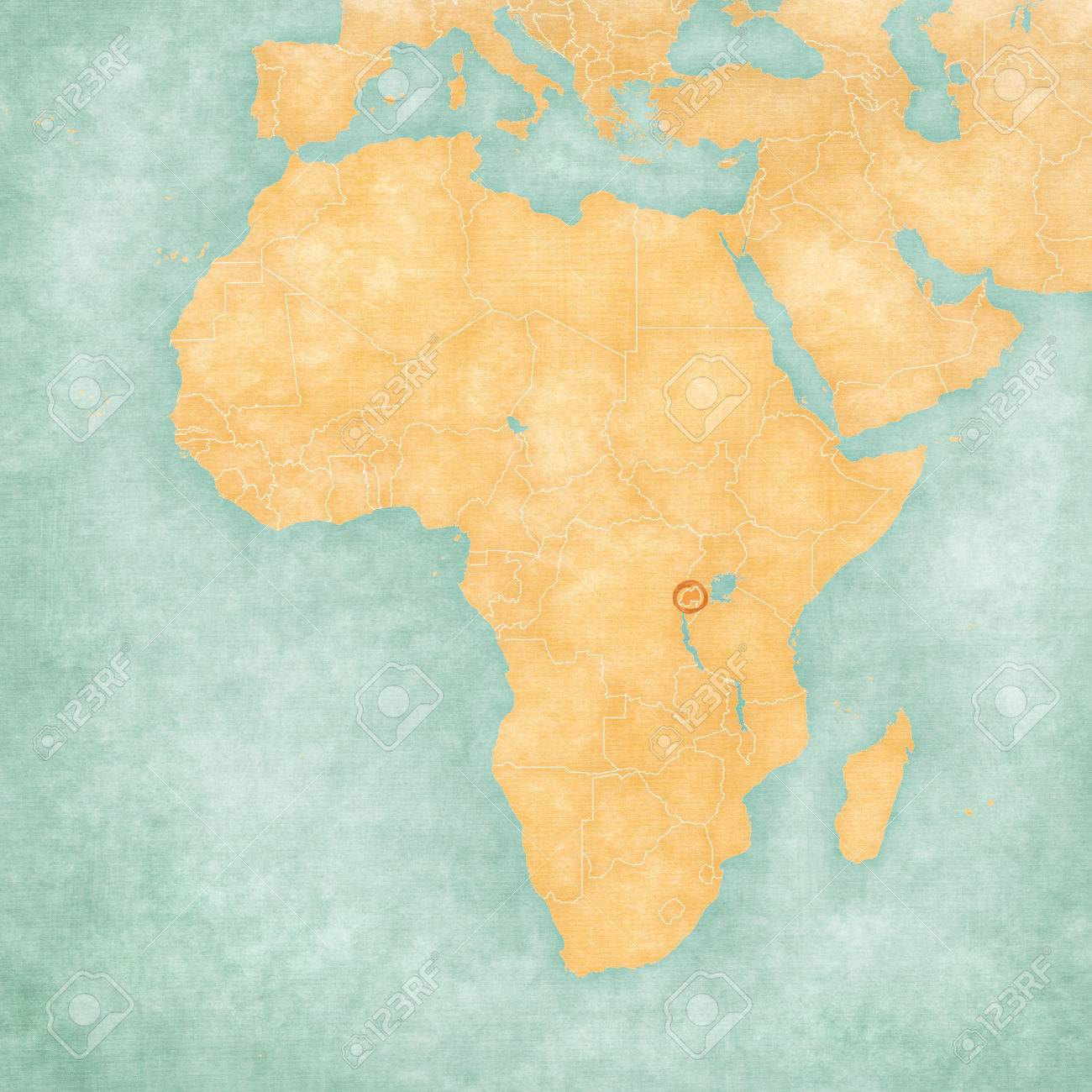 Rwanda On The Map Of Africa In Soft Grunge And Vintage Style ...