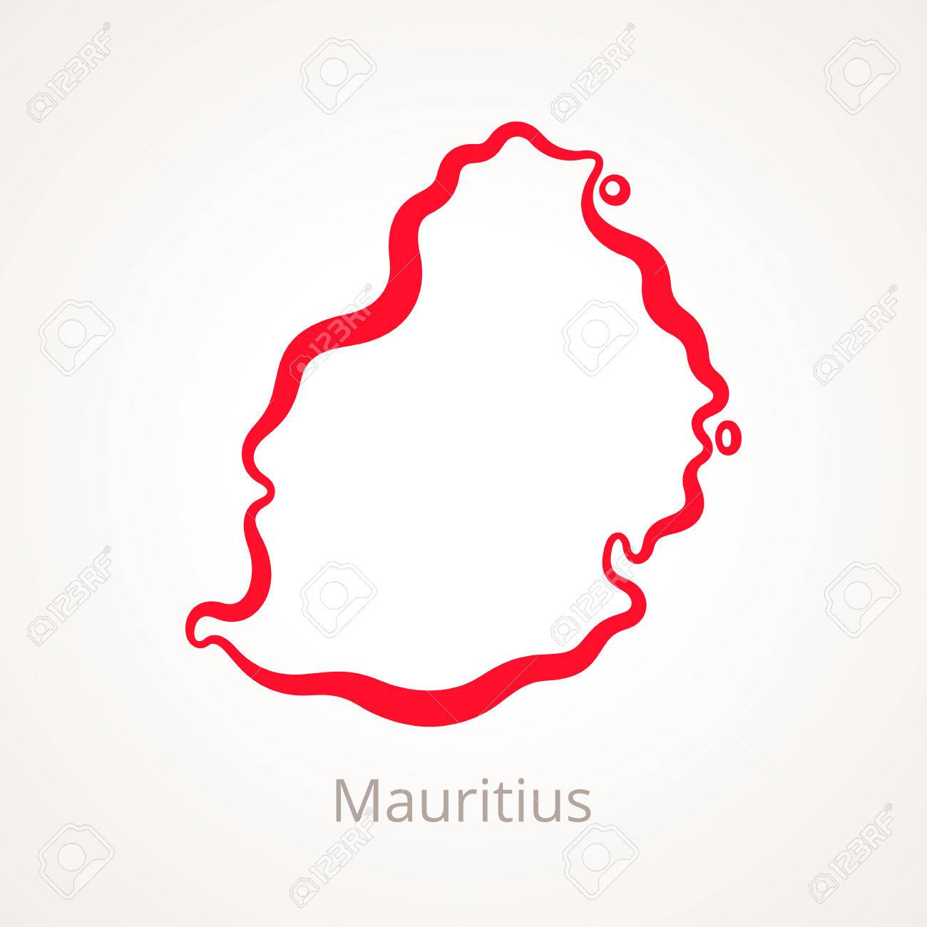 Outline Map Of Mauritius Marked With Red Line. Royalty Free Cliparts ...