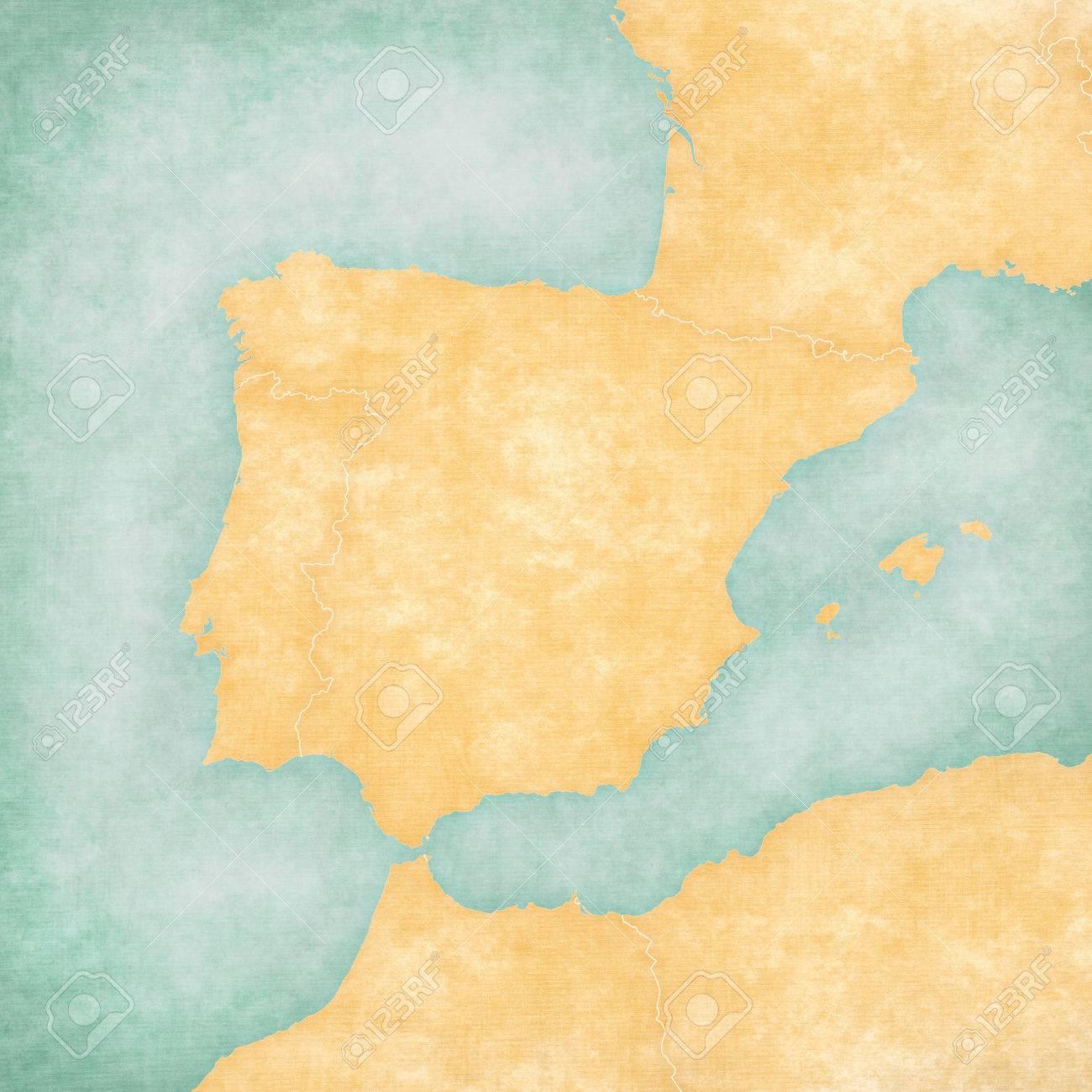 Mapa En Blanco De La Península Ibérica Con Las Fronteras Del País En Grunge Suave Y Estilo Vintage En Papel Viejo Fotos Retratos Imágenes Y Fotografía De Archivo Libres De Derecho Image