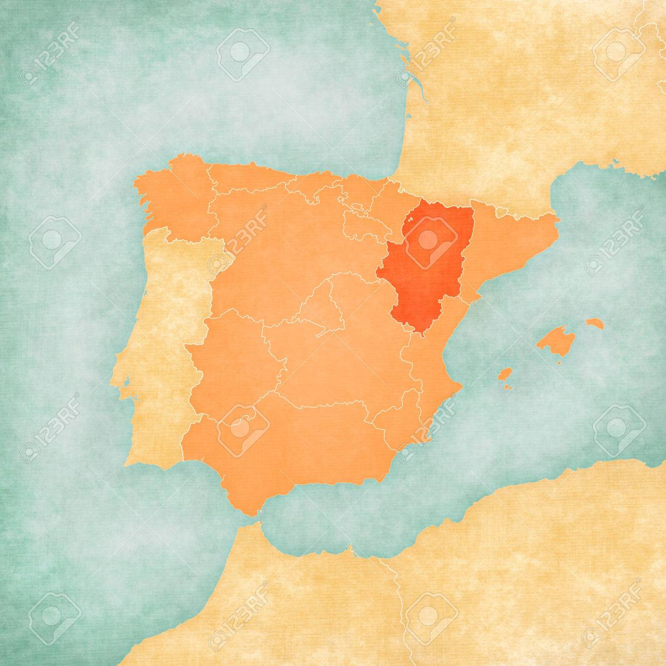Aragon Spain On The Map Of Iberian Peninsula In Soft Grunge