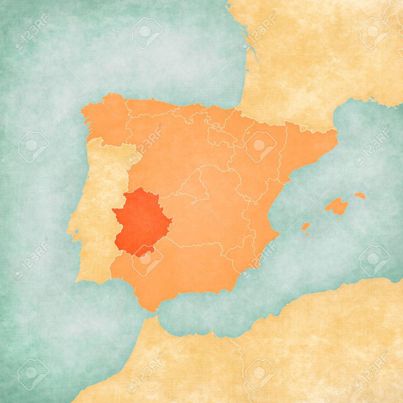 Estremadure Espagne Carte.Estremadure Espagne Sur La Carte De La Peninsule Iberique Douce Grunge Et Style Vintage Sur Vieux Papier