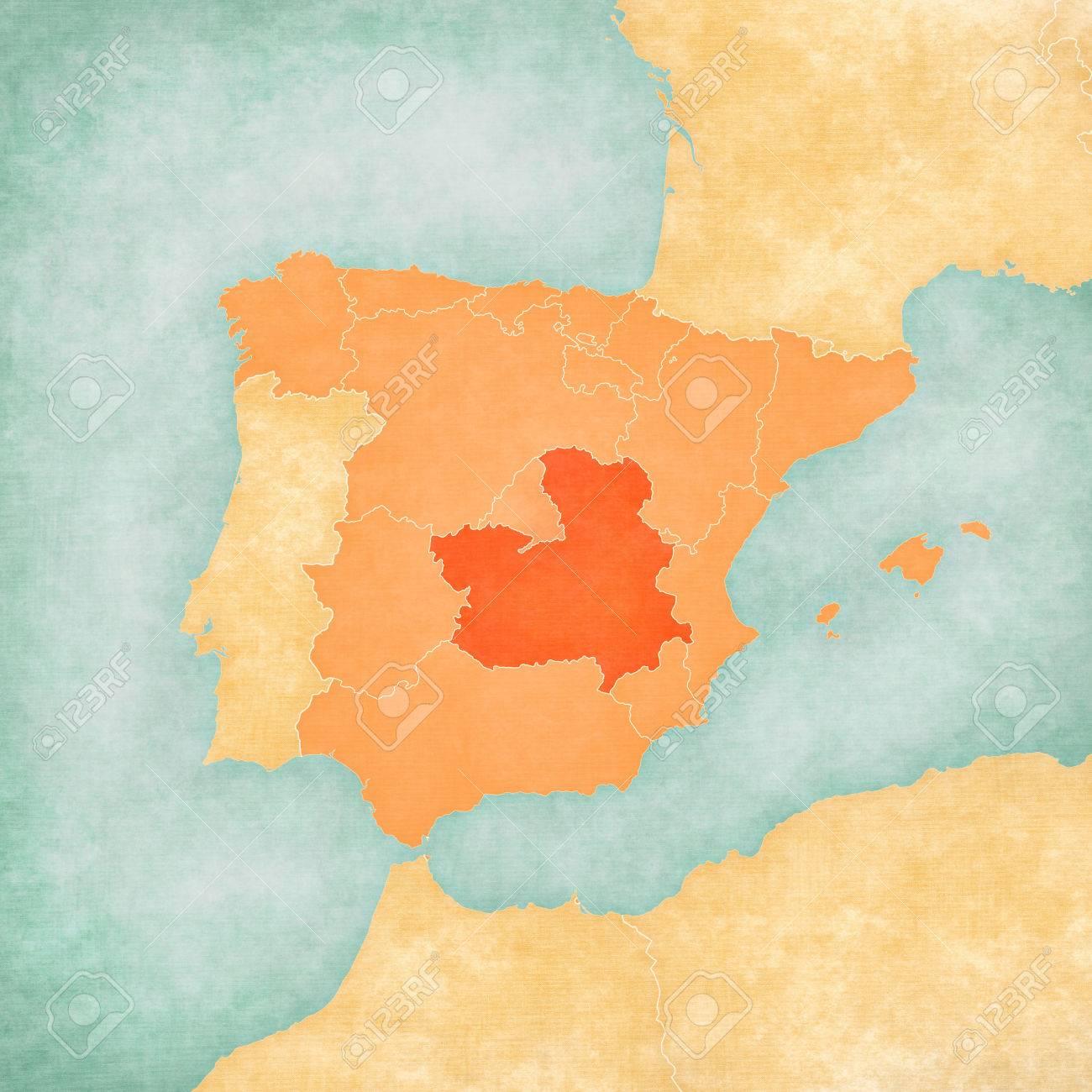 Map Of Spain La Mancha.Castilla La Mancha Spain On The Map Of Iberian Peninsula In
