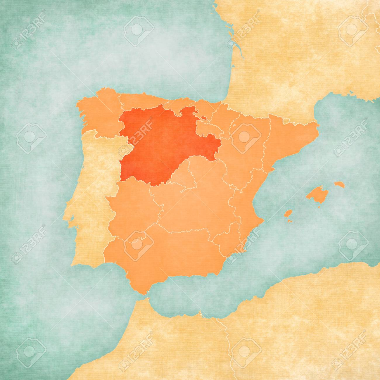 Castile And Leon Spain On The Map Of Iberian Peninsula In Soft