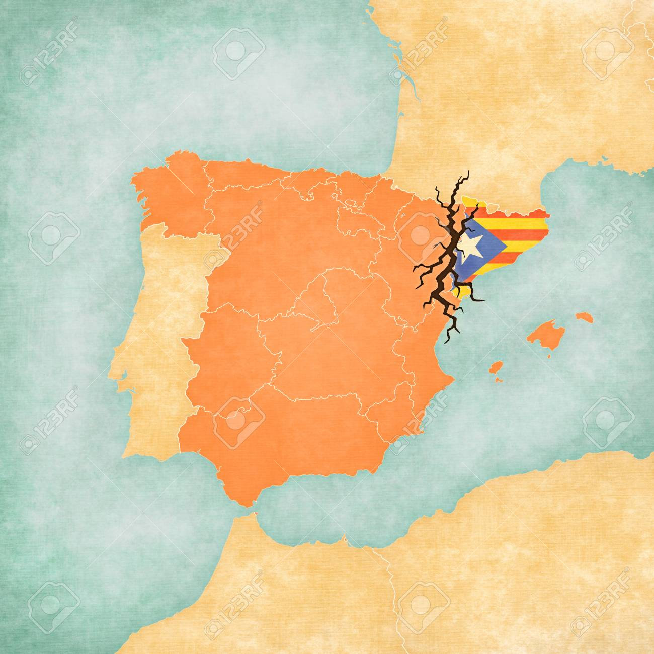 Map Of Spain And Catalonia.Stock Illustration
