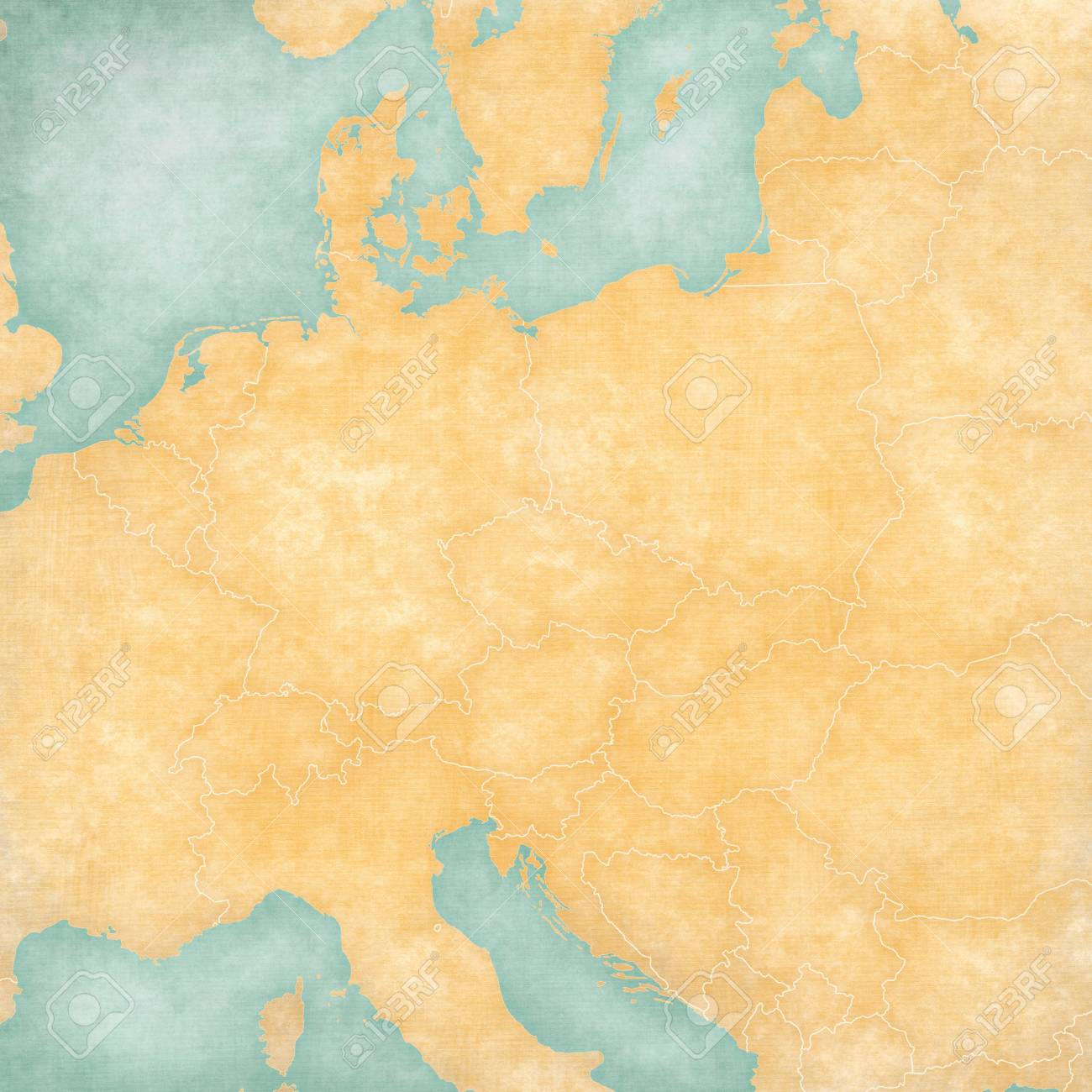 Blank Map Of Central Europe With Country Borders In Soft Grunge Stock Photo Picture And Royalty Free Image Image 102344123