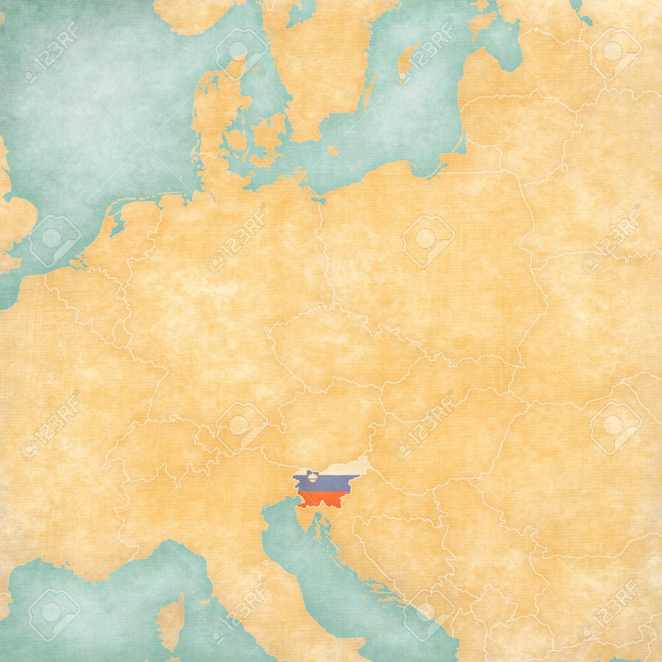 Slovenia (Slovenian Flag) On ??the Map Of Central Europe In Soft ...