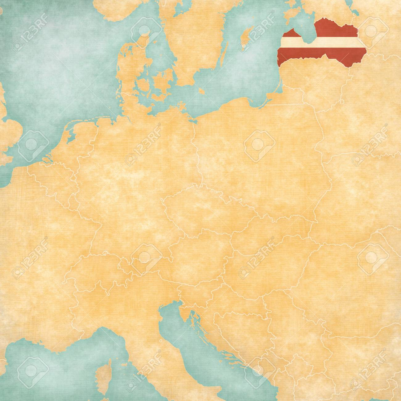 Latvia (Latvian Flag) On ??the Map Of Central Europe In Soft Grunge ...
