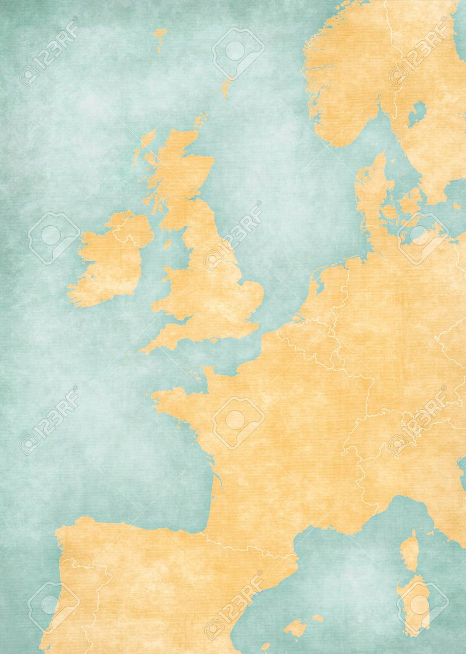 Image of: Blank Map Of Western Europe With Country Borders In Soft Grunge Stock Photo Picture And Royalty Free Image Image 110192049