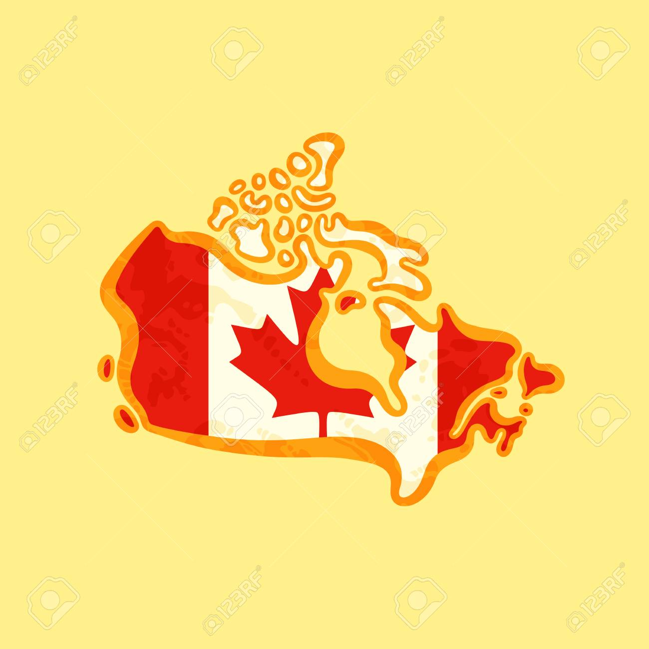 Colored Map Of Canada.Map Of Canada Colored With Canadian Flag And Marked With Golden