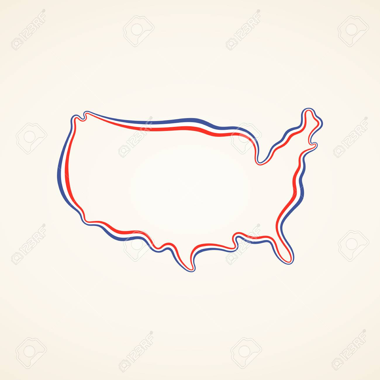 Outline map of United States marked with ribbon in colors from..