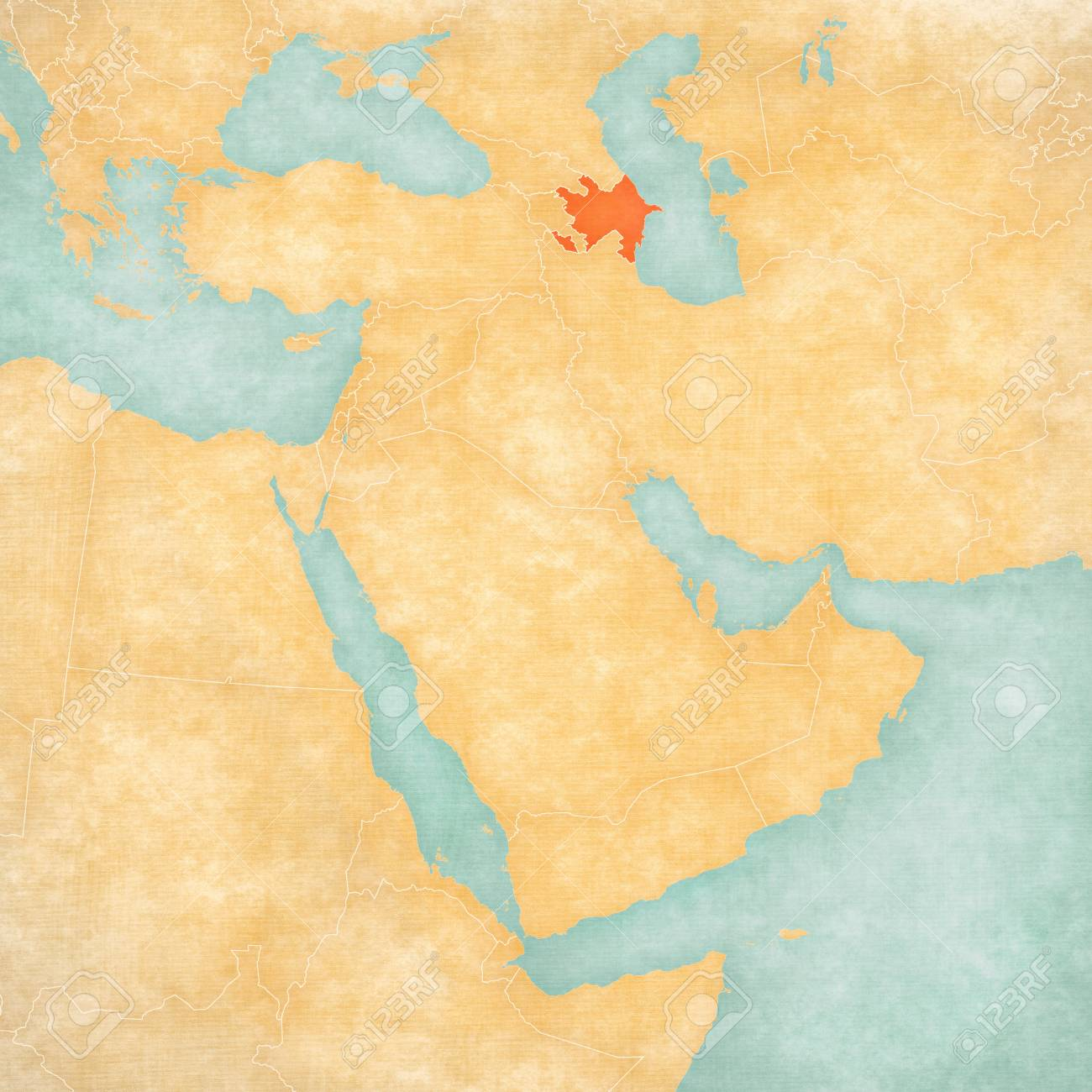 Picture of: Azerbaijan On The Map Of Middle East Western Asia In Soft Grunge Stock Photo Picture And Royalty Free Image Image 110752914
