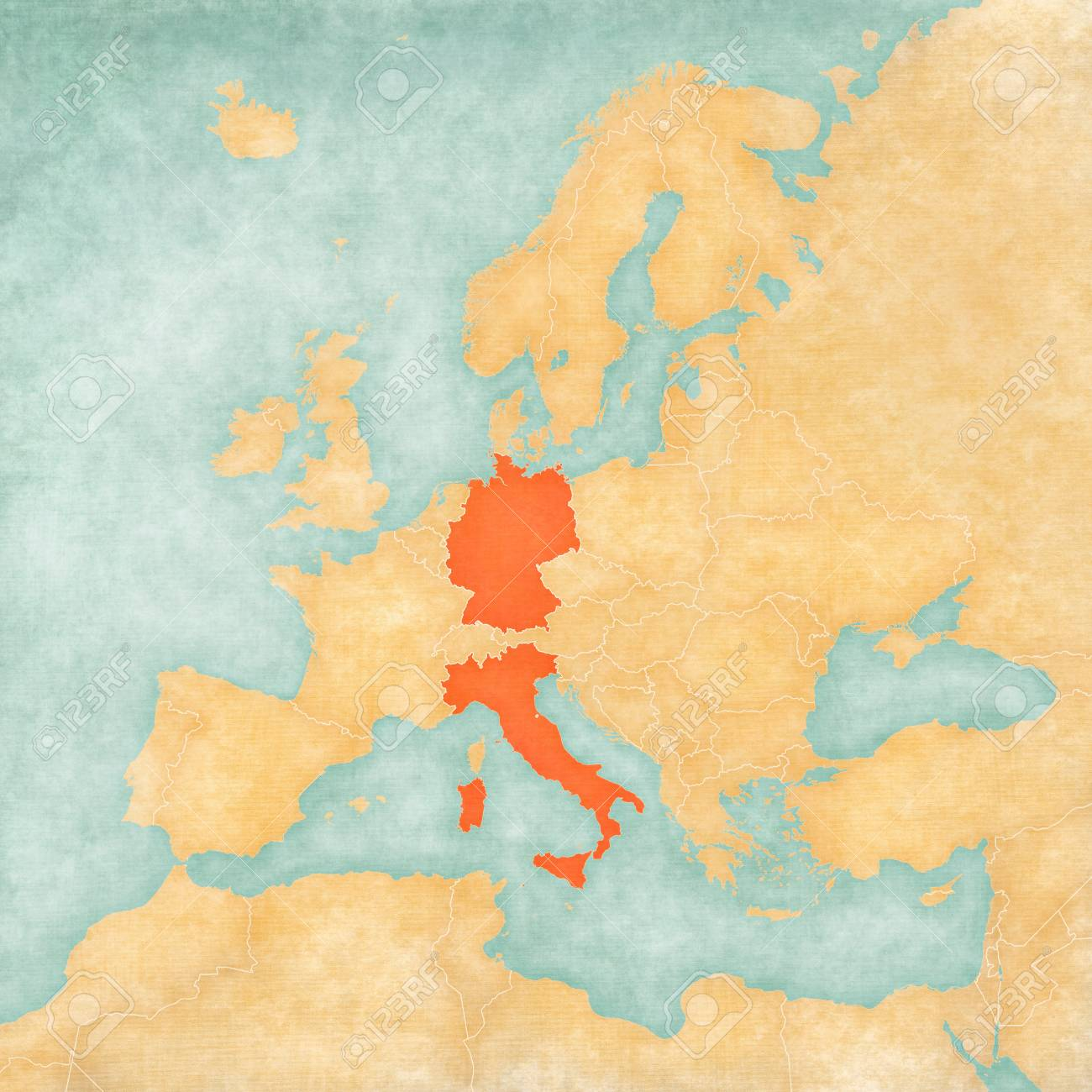 Map Of Germany And Italy.Germany And Italy On The Map Of Europe In Soft Grunge And Vintage