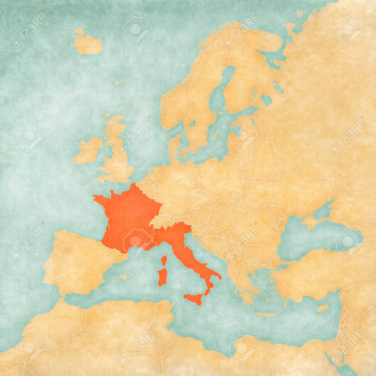 France and Italy on the map of Europe in soft grunge and vintage..