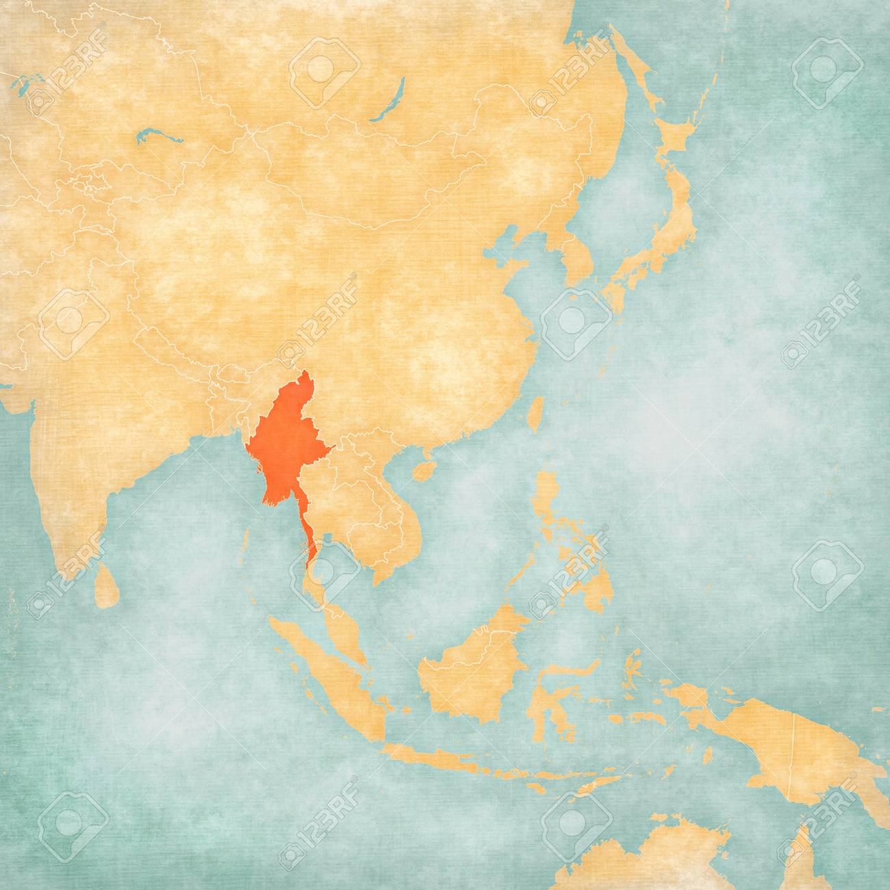 Myanmar on the map of East and Southeast Asia in soft grunge..