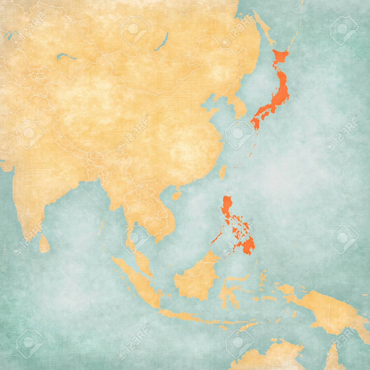 Picture of: Japan And Philippines On The Map Of East And Southeast Asia In Stock Photo Picture And Royalty Free Image Image 128247968