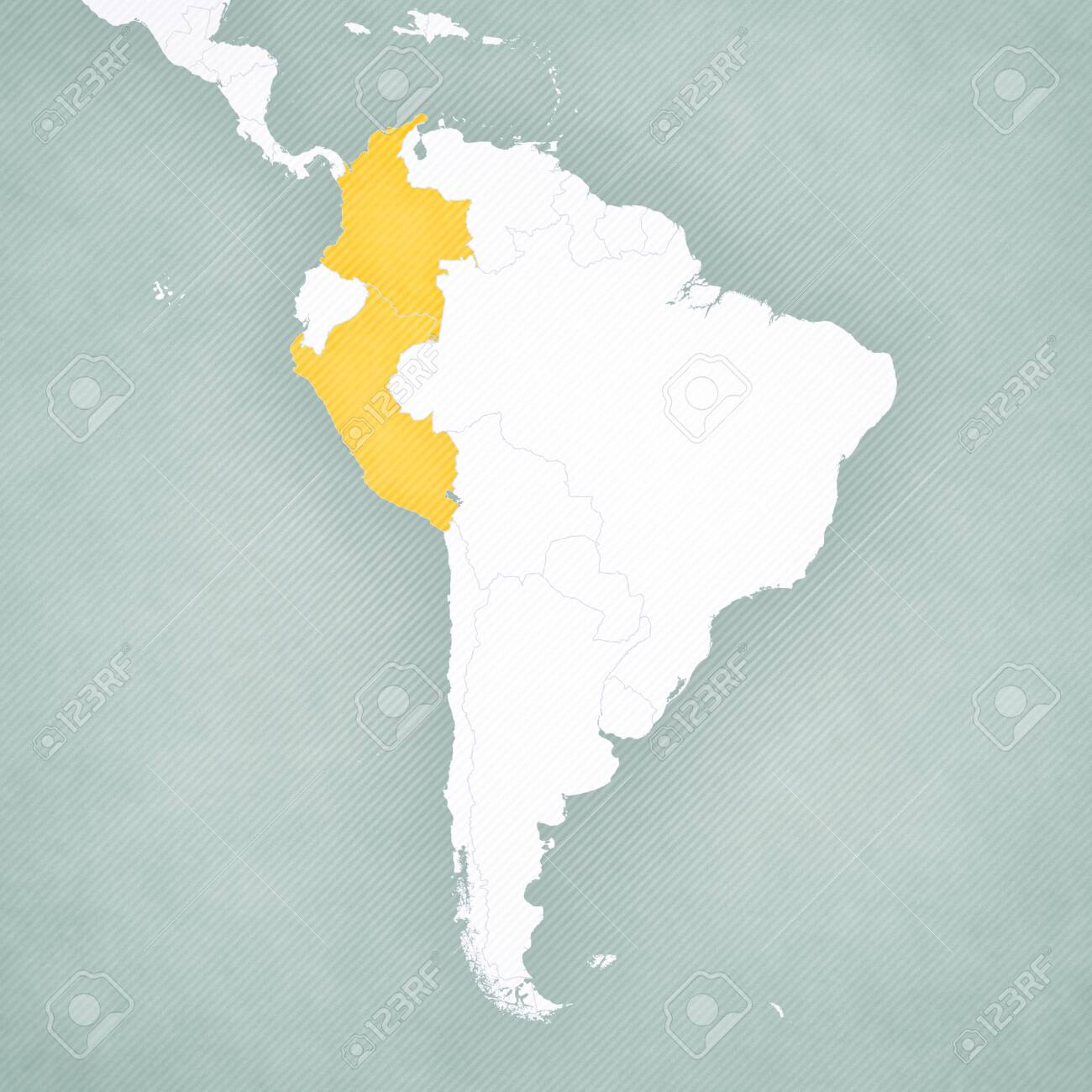 Colombia and Peru on the map of South America with softly striped..
