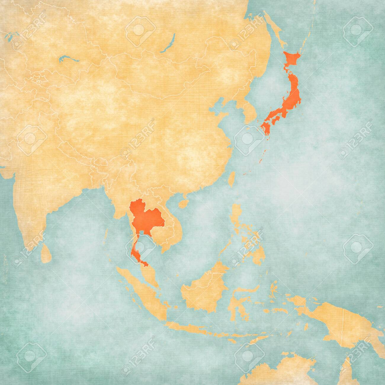 Map Of East And Southeast Asia.Thailand And Japan On The Map Of East And Southeast Asia In Soft