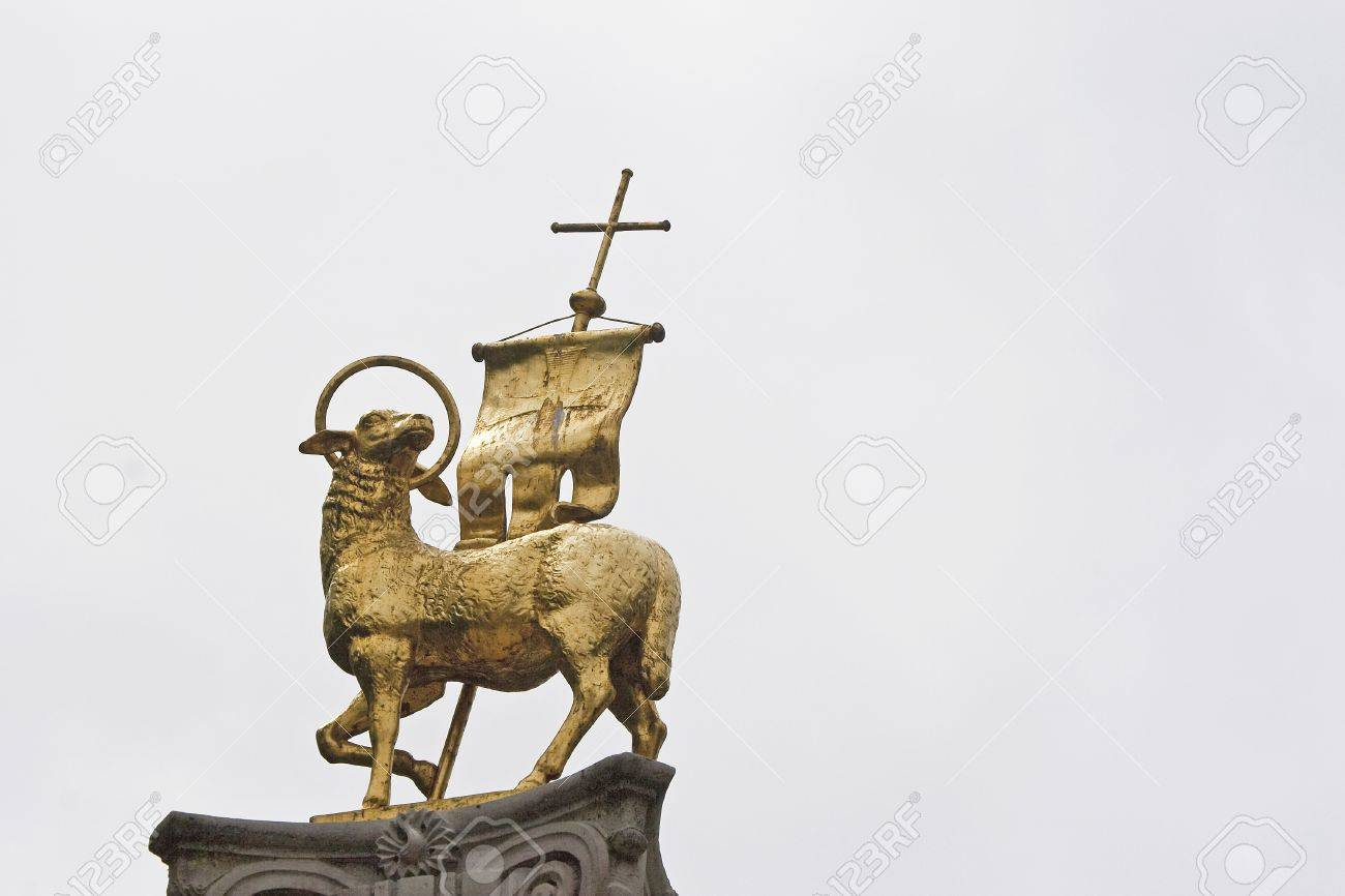 The Lamb Is A Christian Symbol At The Top Of A Column In Brixen