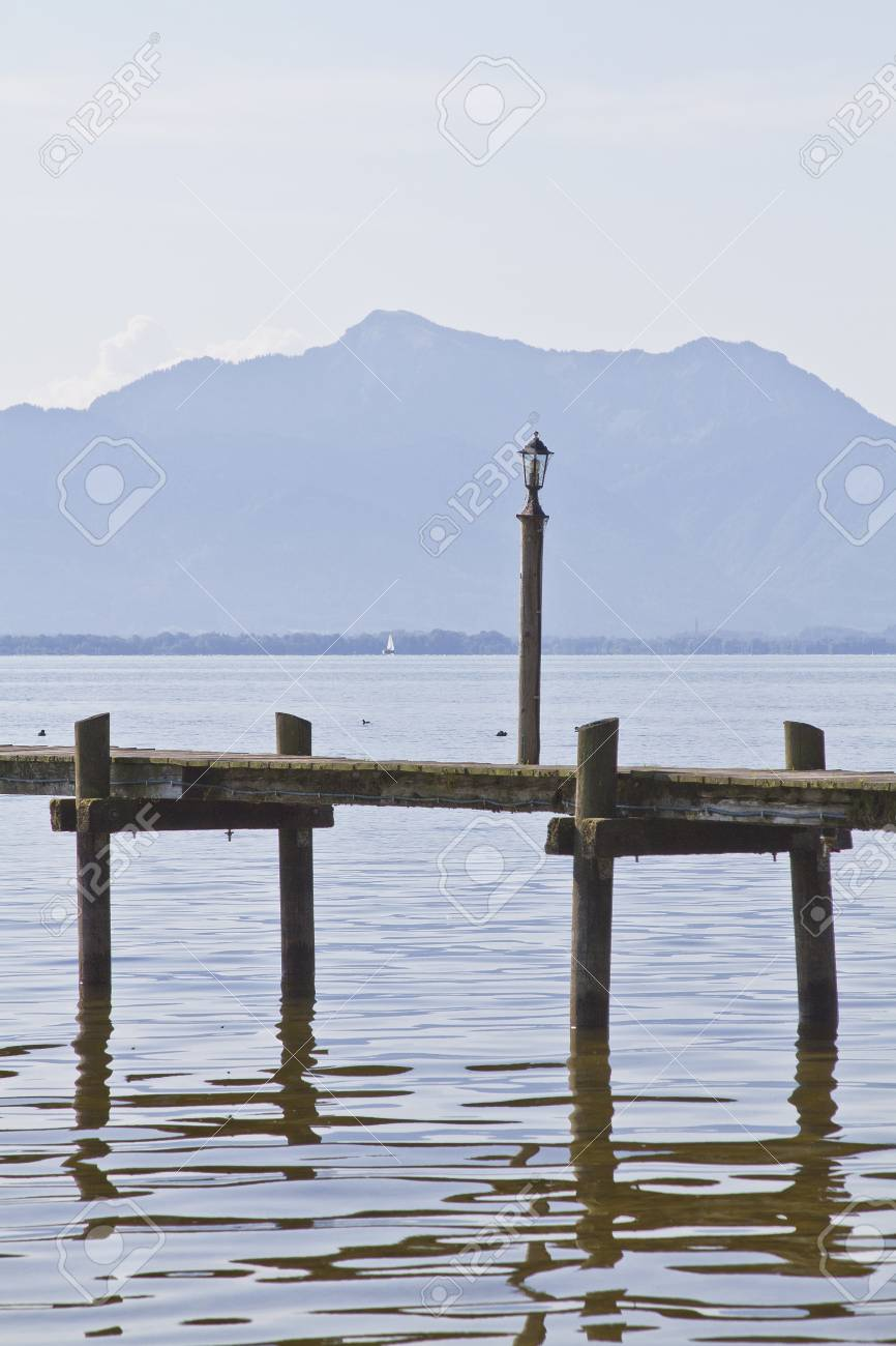 Wooden pier at the Chiemsee Stock Photo - 15298298