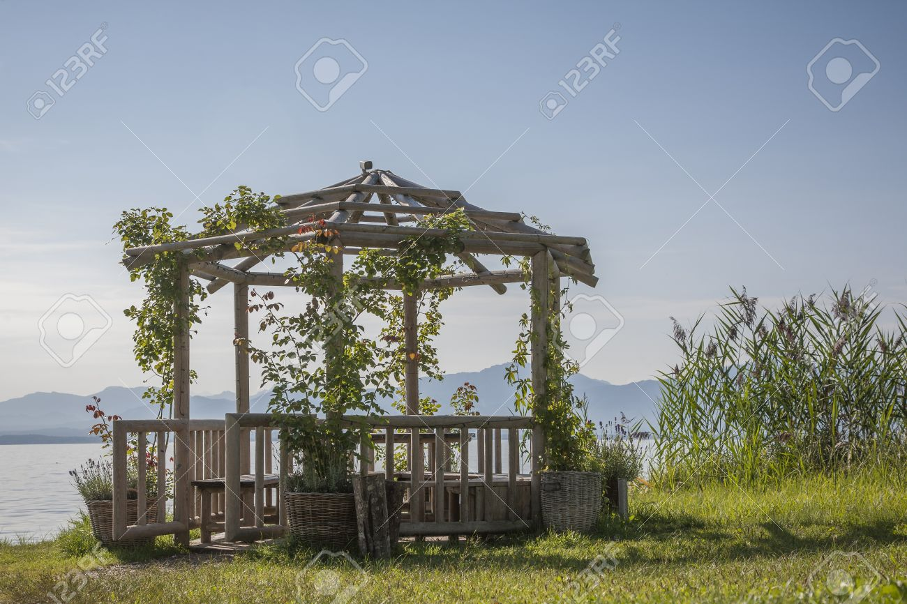 Garden Pavilion On The Shores Of Lake Chiemsee Stock Photo