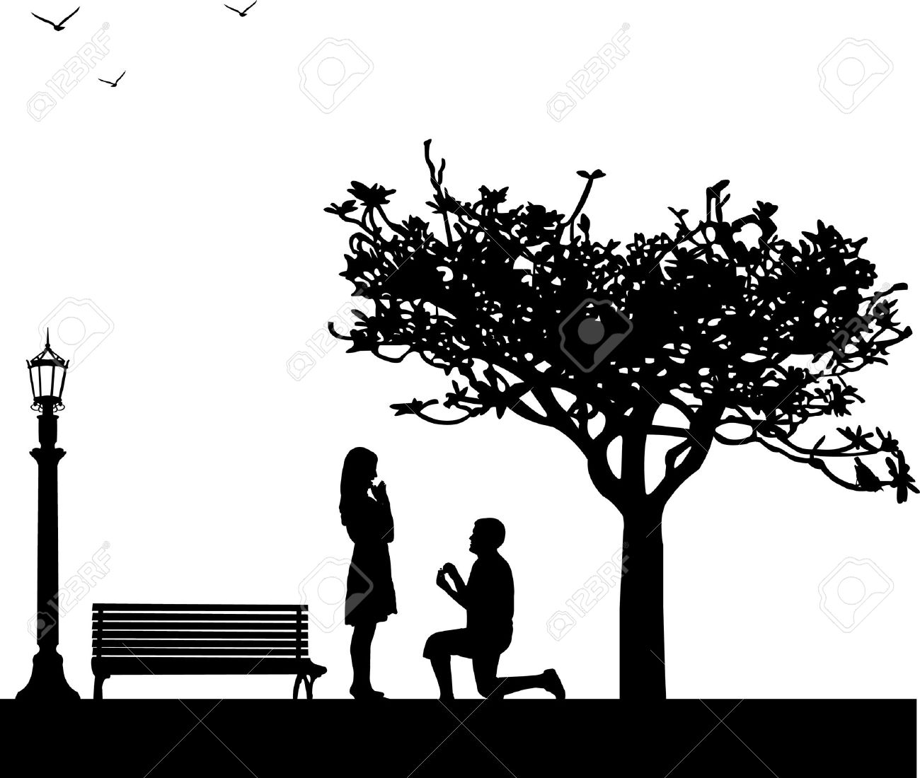 Romantic proposal in park under the tree on Valentine Stock Vector - 12431572