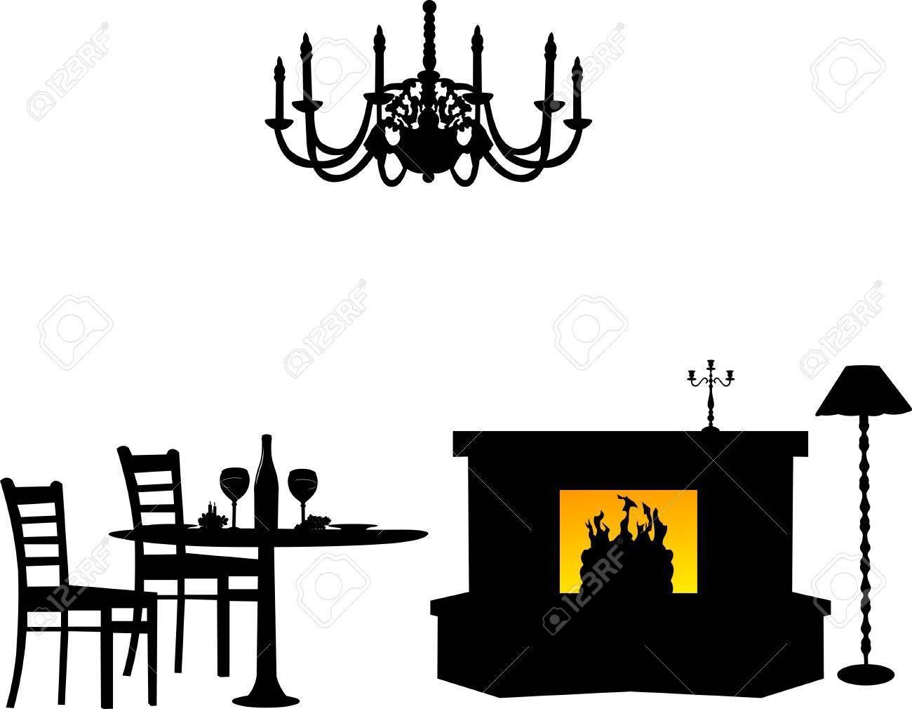 Dining Area Furniture Interior Design Silhouette Stock Vector