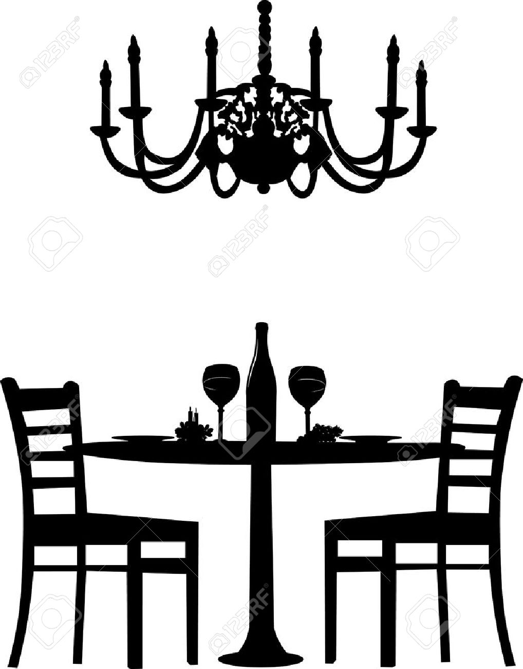 Romantic dinner for two with table and two chairs, candle decoration and bottle of wine and old antique chandelier, silhouette isolated on white background - 12431587