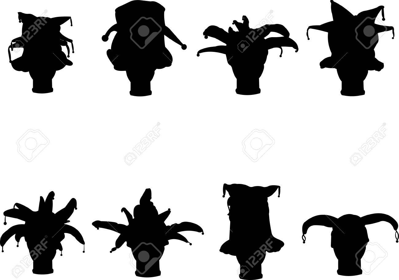 Detailed silhouette of a collection carnival caps Stock Vector - 12431595