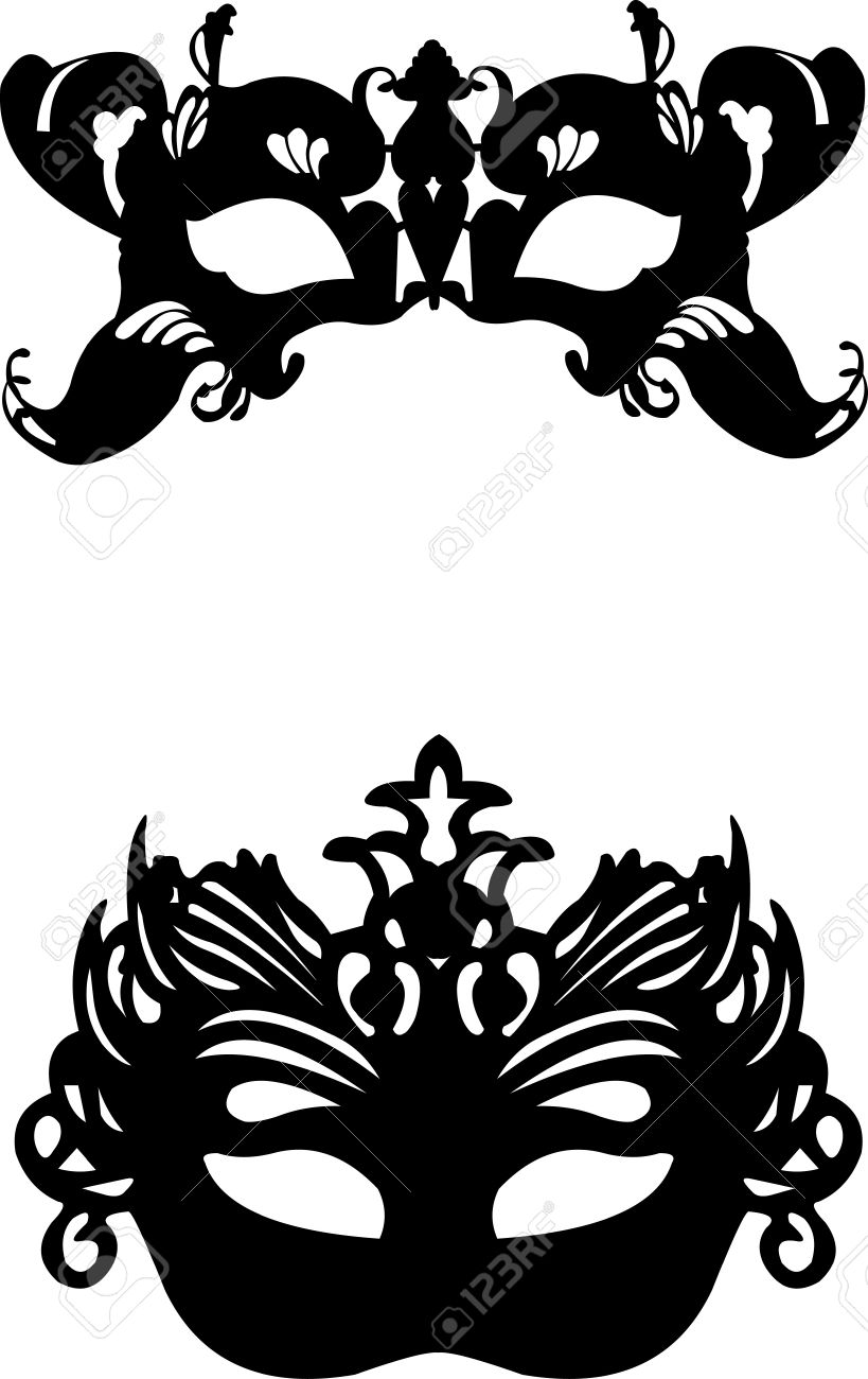 Collection of  two different carnival Venetian masks background silhouette Stock Vector - 12431598