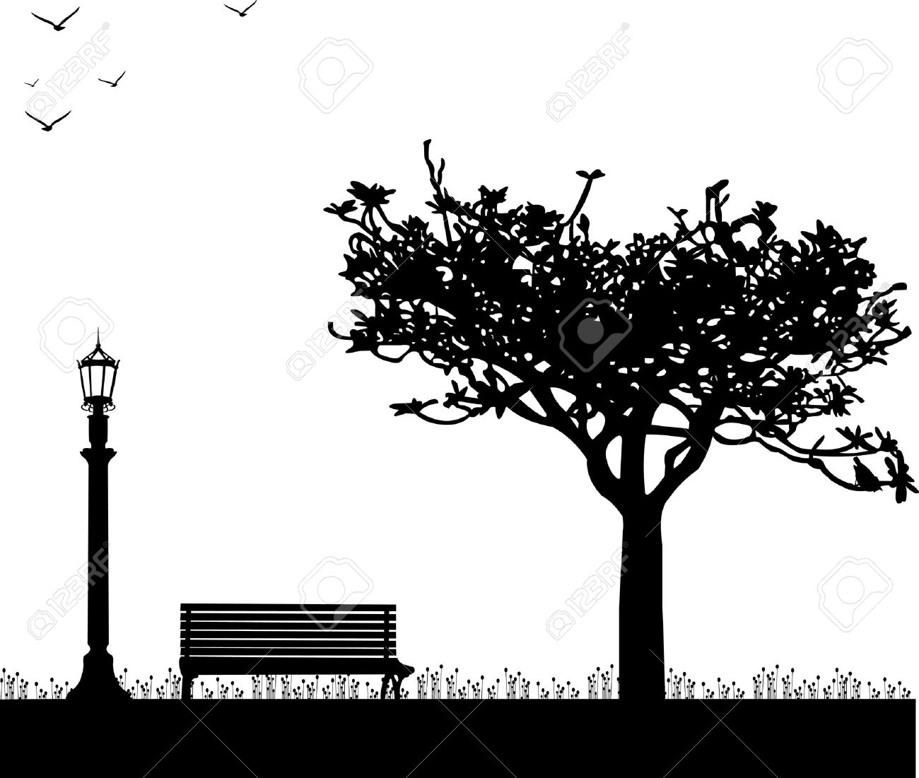 Spring in park with tulips, streetlight, bench, tree and bird one in the series of similar images silhouette Stock Vector - 12431601