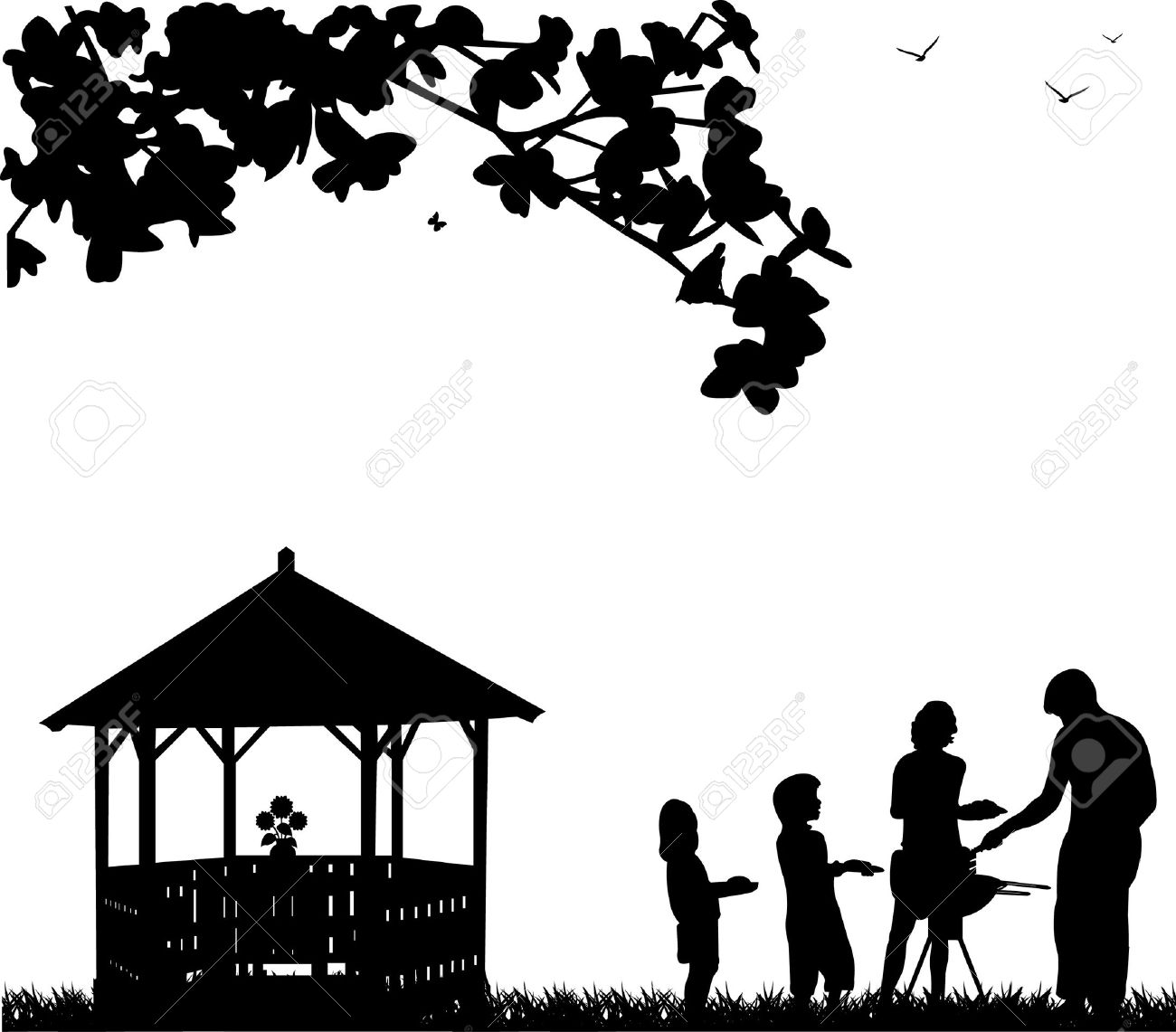 Family barbecue and picnic in the garden next to the arbor or summer house and butterflies flying under a tree silhouette Stock Vector - 12799136
