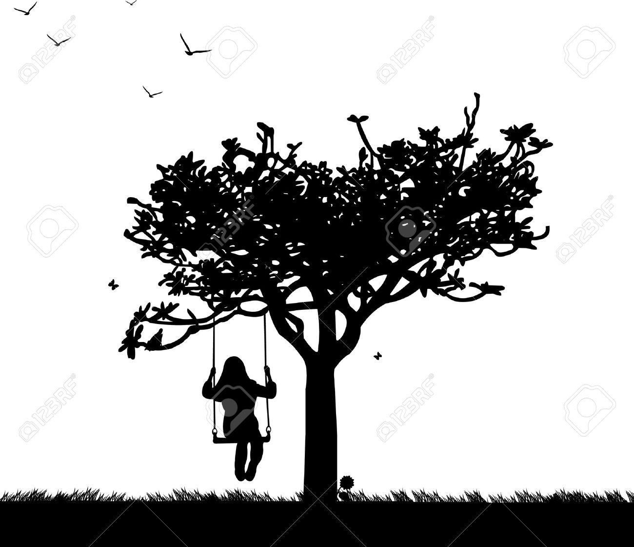 banque dimages fille sur la balanoire dans le parc ou le jardin en silhouette de printemps