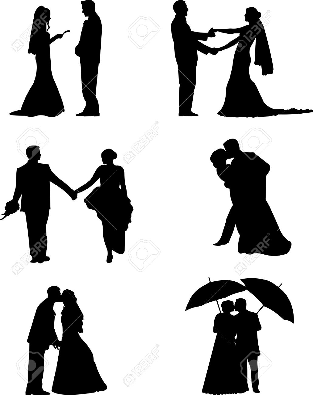 Wedding couples, groom and a bride in a different poses silhouette, one in the series of similar images Stock Vector - 12942714