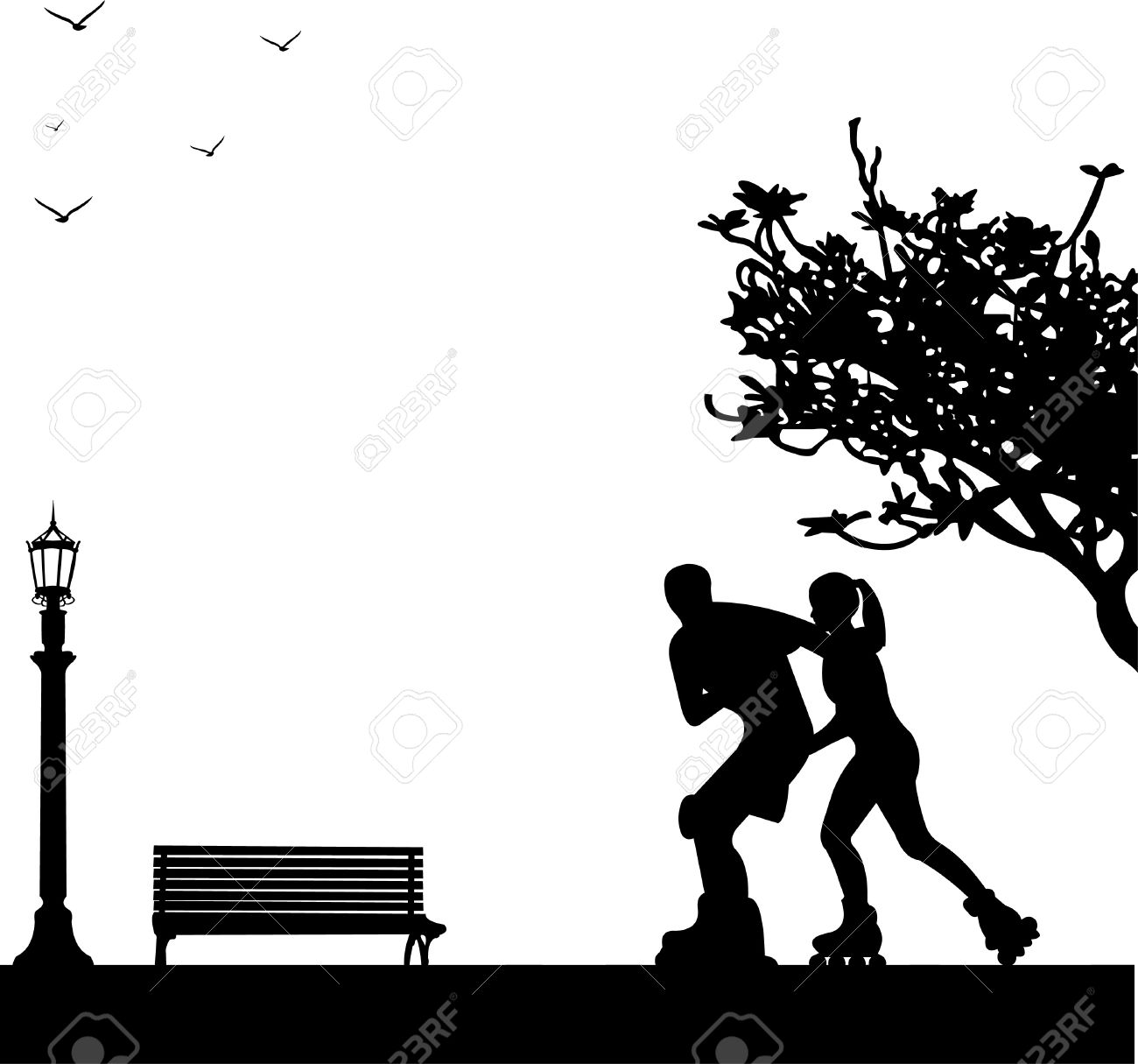 Girl and boy on roller-skates in park in spring. Silhouettes on a white background , one in the series of similar images Stock Vector - 12942726