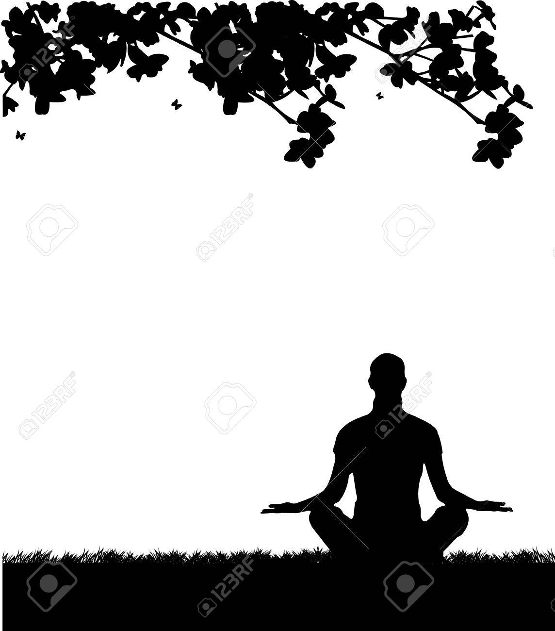 An isolated girl meditating and doing yoga exercise under the tree in park in spring silhouette, one in the series of similar images Stock Vector - 12942731