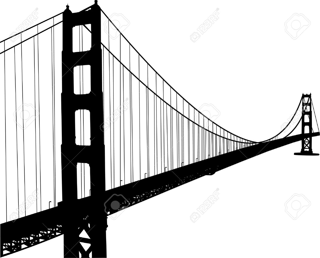 Printable coloring pages golden gate bridge - Golden Gate Bridge Silhouette Of Golden Gate Bridge Illustration